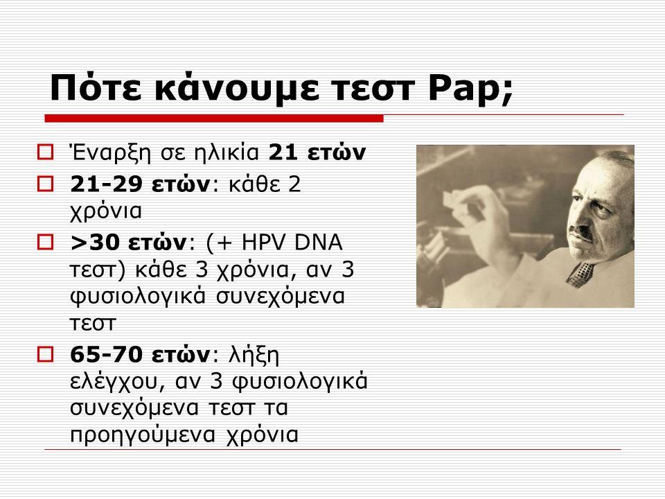 Έναρξη σε ηλικία 21 ετών  21-29 ετών: κάθε 2 χρόνια  >30 ετών: (+ HPV DNA τεστ) κάθε 3 χρόνια, αν 3 φυσιολογικά συνεχόμενα τεστ  65-70 ετών: λήξη ελέγχου, αν 3 φυσιολογικά συνεχόμενα τεστ τα προηγούμενα χρόνια