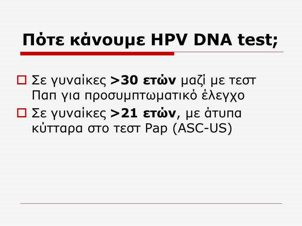 Σε γυναίκες >30 ετών μαζί με τεστ Παπ για προσυμπτωματικό έλεγχο  Σε γυναίκες >21 ετών, με άτυπα κύτταρα στο τεστ Pap (ASC-US)