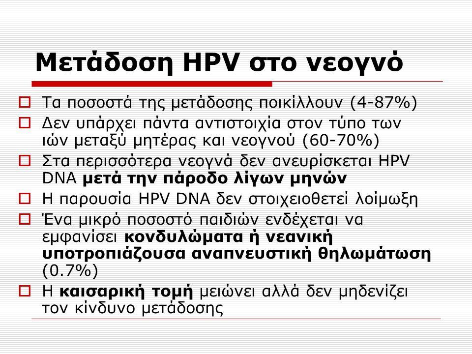 Μετάδοση HPV στο νεογνό  Τα ποσοστά της μετάδοσης ποικίλλουν (4-87%)  Δεν υπάρχει πάντα αντιστοιχία στον τύπο των ιών μεταξύ μητέρας και νεογνού (60-70%)  Στα περισσότερα νεογνά δεν ανευρίσκεται HPV DNA μετά την πάροδο λίγων μηνών  Η παρουσία HPV DNA δεν στοιχειοθετεί λοίμωξη  Ένα μικρό ποσοστό παιδιών ενδέχεται να εμφανίσει κονδυλώματα ή νεανική υποτροπιάζουσα αναπνευστική θηλωμάτωση (0.7%)  Η καισαρική τομή μειώνει αλλά δεν μηδενίζει τον κίνδυνο μετάδοσης