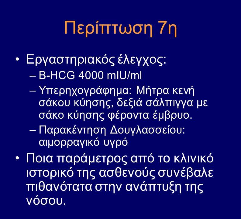 Περίπτωση 7η Εργαστηριακός έλεγχος: –Β-HCG 4000 mIU/ml –Υπερηχογράφημα: Μήτρα κενή σάκου κύησης, δεξιά σάλπιγγα με σάκο κύησης φέροντα έμβρυο. –Παρακέ