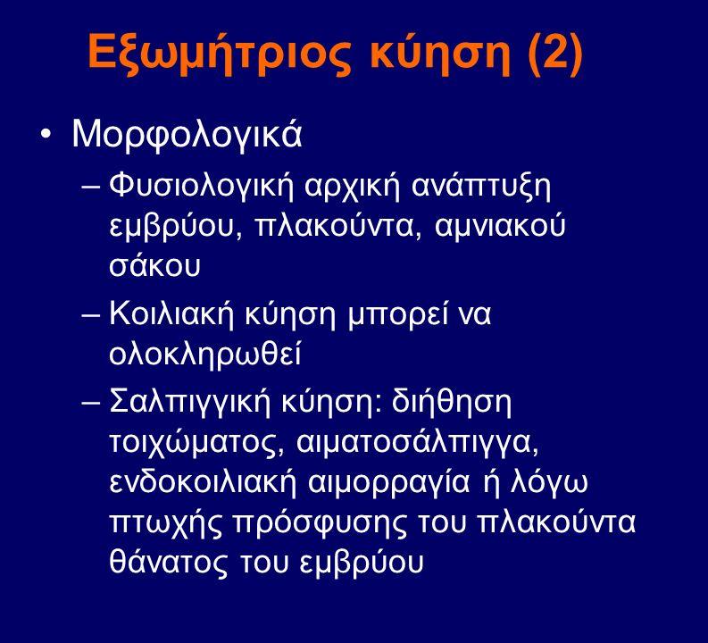 Εξωμήτριος κύηση (2) Μορφολογικά –Φυσιολογική αρχική ανάπτυξη εμβρύου, πλακούντα, αμνιακού σάκου –Κοιλιακή κύηση μπορεί να ολοκληρωθεί –Σαλπιγγική κύη