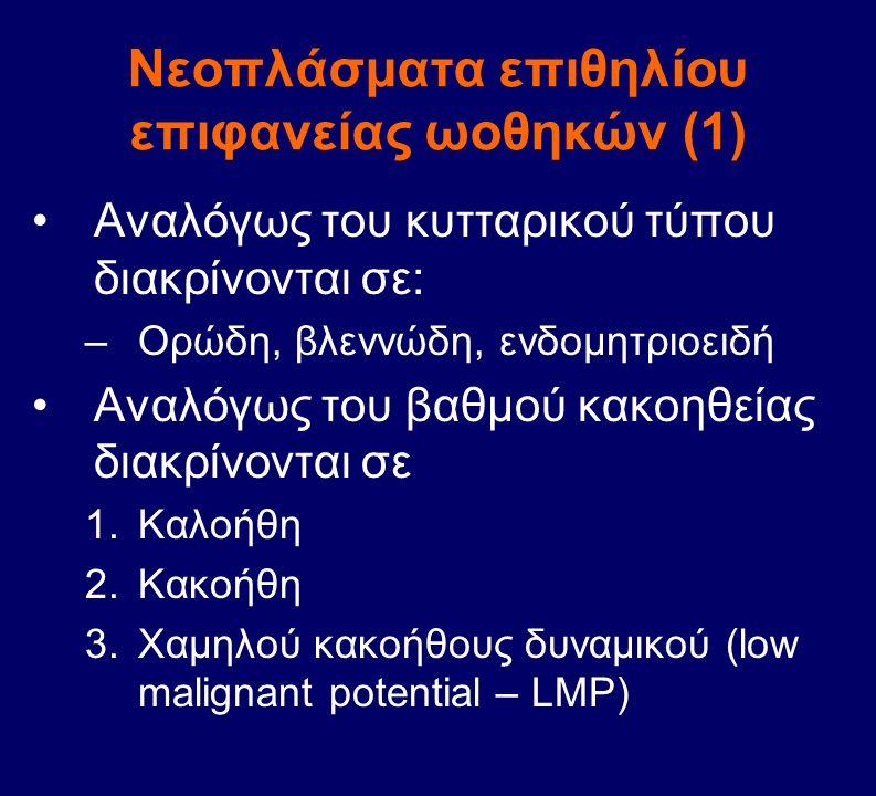 Νεοπλάσματα επιθηλίου επιφανείας ωοθηκών (1) Αναλόγως του κυτταρικού τύπου διακρίνονται σε: –Ορώδη, βλεννώδη, ενδομητριοειδή Αναλόγως του βαθμού κακοη