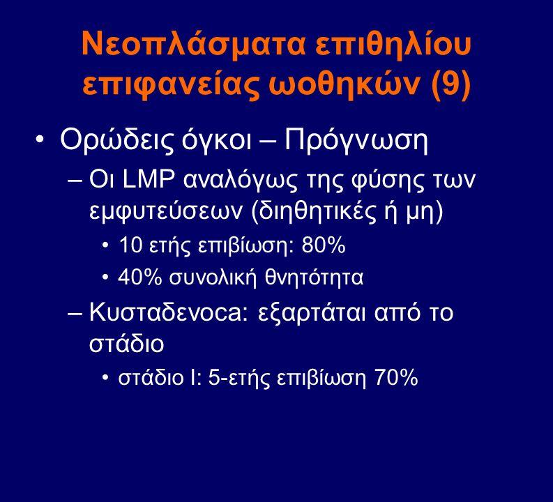 Νεοπλάσματα επιθηλίου επιφανείας ωοθηκών (9) Ορώδεις όγκοι – Πρόγνωση –Οι LMP αναλόγως της φύσης των εμφυτεύσεων (διηθητικές ή μη) 10 ετής επιβίωση: 8