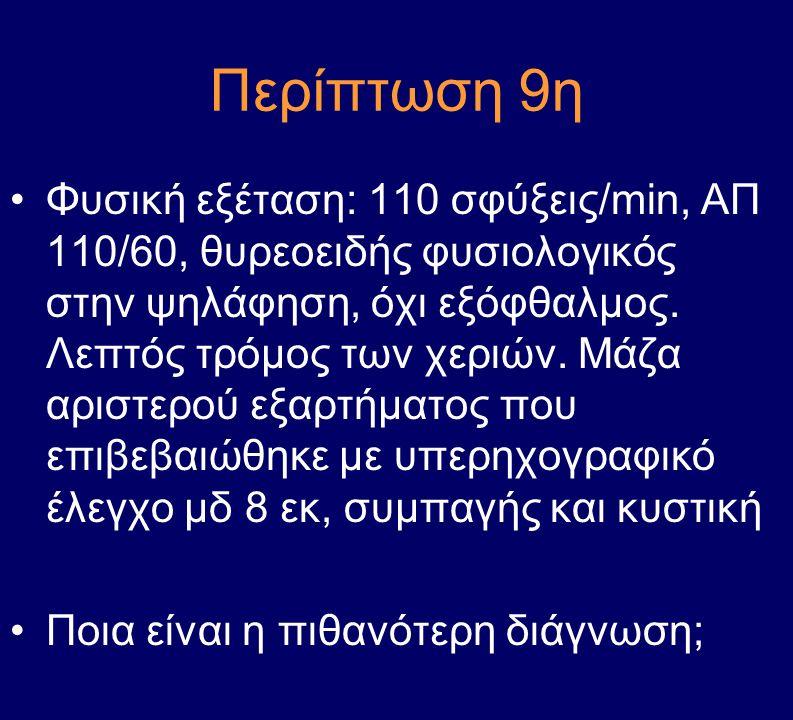 Περίπτωση 9η Φυσική εξέταση: 110 σφύξεις/min, ΑΠ 110/60, θυρεοειδής φυσιολογικός στην ψηλάφηση, όχι εξόφθαλμος. Λεπτός τρόμος των χεριών. Μάζα αριστερ