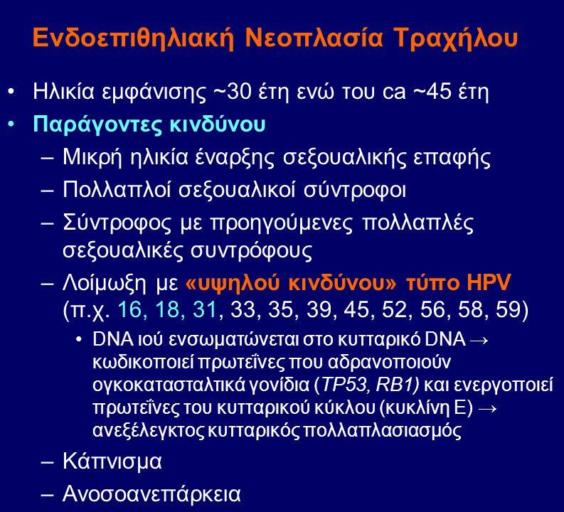 Ενδοεπιθηλιακή Nεοπλασία Τραχήλου Ηλικία εμφάνισης ~30 έτη ενώ του ca ~45 έτη Παράγοντες κινδύνου –Μικρή ηλικία έναρξης σεξουαλικής επαφής –Πολλαπλοί