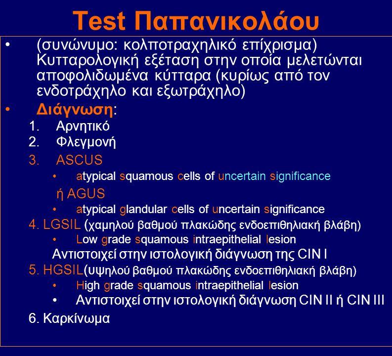 Test Παπανικολάου (συνώνυμο: κολποτραχηλικό επίχρισμα) Κυτταρολογική εξέταση στην οποία μελετώνται αποφολιδωμένα κύτταρα (κυρίως από τον ενδοτράχηλο κ