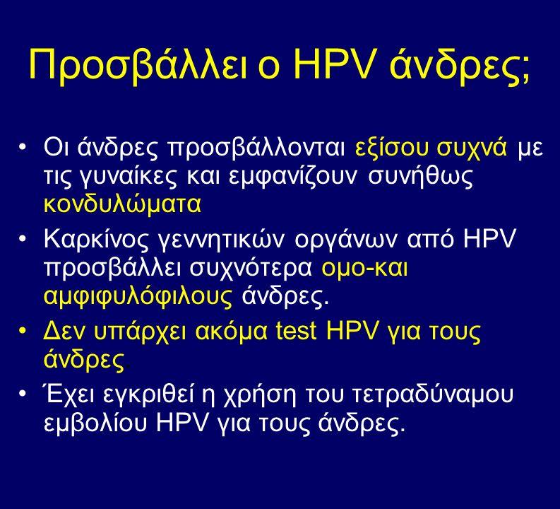 Προσβάλλει ο HPV άνδρες; Οι άνδρες προσβάλλονται εξίσου συχνά με τις γυναίκες και εμφανίζουν συνήθως κονδυλώματα Καρκίνος γεννητικών οργάνων από HPV π