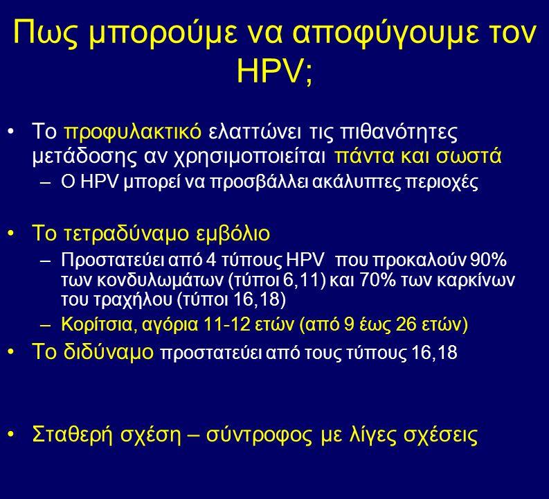 Πως μπορούμε να αποφύγουμε τον HPV; Το προφυλακτικό ελαττώνει τις πιθανότητες μετάδοσης αν χρησιμοποιείται πάντα και σωστά –Ο HPV μπορεί να προσβάλλει