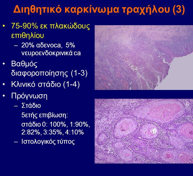 Διηθητικό καρκίνωμα τραχήλου (3) 75-90% εκ πλακώδους επιθηλίου –20% αδενοca, 5% νευροενδοκρινικά ca Βαθμός διαφοροποίησης (1-3) Κλινικό στάδιο (1-4) Π