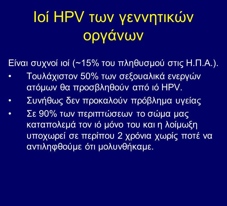 ΗPV λοίμωξη του τραχήλου Προσβάλλει τα φυσιολογικά κύτταρα και τα μετατρέπει σε παθολογικά Αν υποχωρήσει μόνος του τα κύτταρα γίνονται πάλι φυσιολογικά Χαμηλού κινδύνου υπότυποι ΗPV προκαλούν κονδυλώματα.
