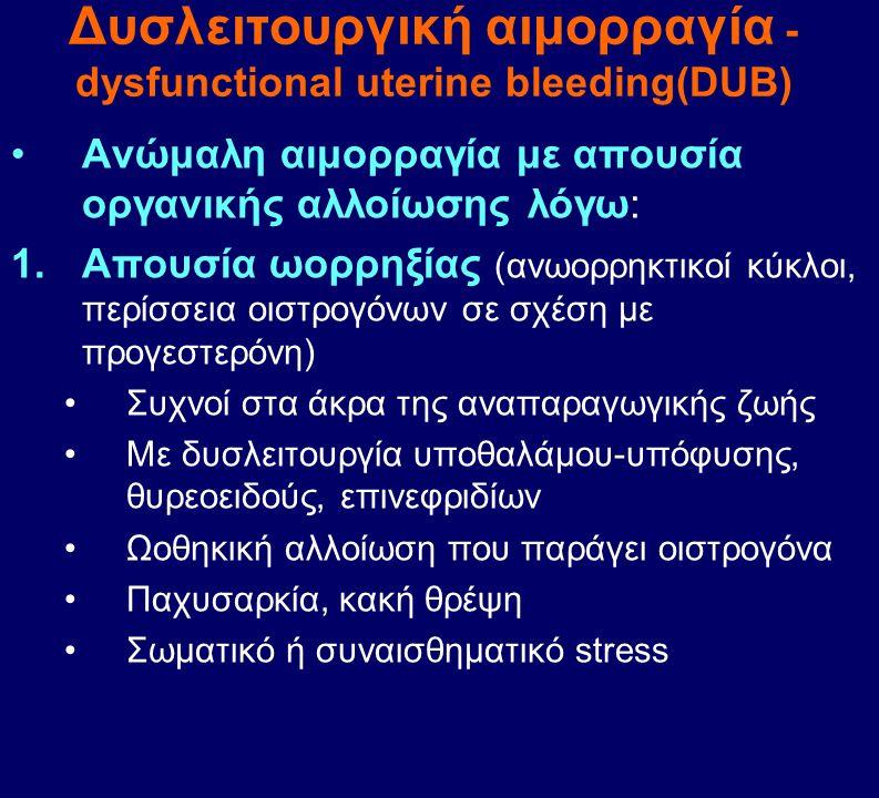 Ανώμαλη αιμορραγία με απουσία οργανικής αλλοίωσης λόγω: 1.Απουσία ωορρηξίας (ανωορρηκτικοί κύκλοι, περίσσεια οιστρογόνων σε σχέση με προγεστερόνη) Συχ
