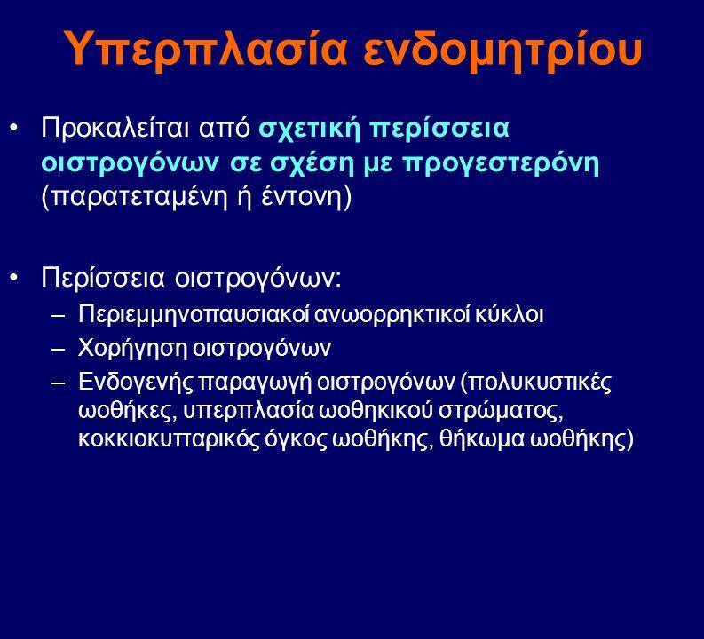 Υπερπλασία ενδομητρίου Προκαλείται από σχετική περίσσεια οιστρογόνων σε σχέση με προγεστερόνη (παρατεταμένη ή έντονη) Περίσσεια οιστρογόνων: –Περιεμμη