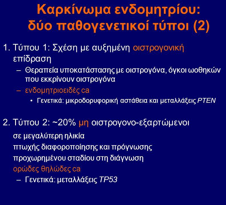 Καρκίνωμα ενδομητρίου: δύο παθογενετικοί τύποι (2) 1. Τύπου 1: Σχέση με αυξημένη οιστρογονική επίδραση –Θεραπεία υποκατάστασης με οιστρογόνα, όγκοι ωο