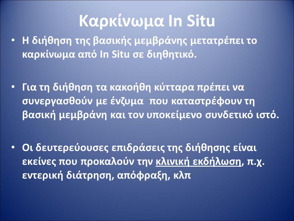 Καρκίνωμα In Situ Η διήθηση της βασικής μεμβράνης μετατρέπει το καρκίνωμα από In Situ σε διηθητικό.