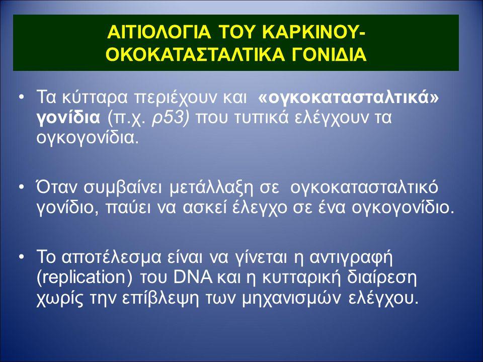 ΑΙΤΙΟΛΟΓΙΑ ΤΟΥ ΚΑΡΚΙΝΟΥ- ΟΚΟΚΑΤΑΣΤΑΛΤΙΚΑ ΓΟΝΙΔΙΑ Τα κύτταρα περιέχουν και «ογκοκατασταλτικά» γονίδια (π.χ.