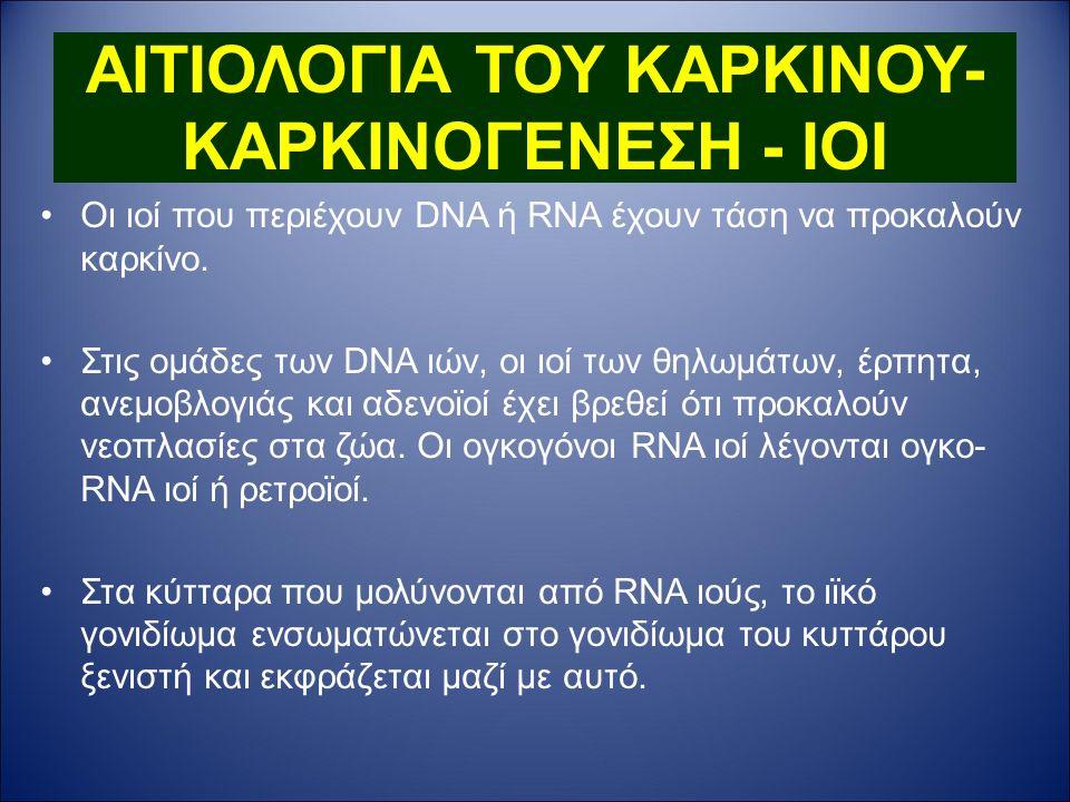 ΑΙΤΙΟΛΟΓΙΑ ΤΟΥ ΚΑΡΚΙΝΟΥ- ΚΑΡΚΙΝΟΓΕΝΕΣΗ - IOI Οι ιοί που περιέχουν DNA ή RNA έχουν τάση να προκαλούν καρκίνο.