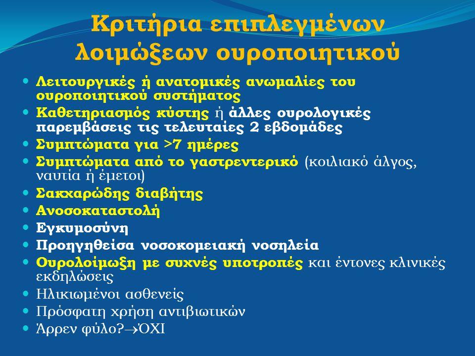 Κριτήρια επιπλεγμένων λοιμώξεων ουροποιητικού Λειτουργικές ή ανατομικές ανωμαλίες του ουροποιητικού συστήματος Καθετηριασμός κύστης ή άλλες ουρολογικέ