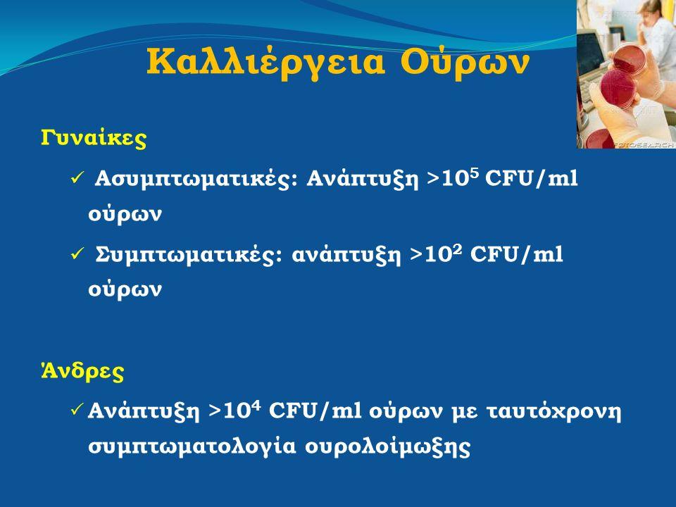 Καλλιέργεια Ούρων Γυναίκες Ασυμπτωματικές: Ανάπτυξη >10 5 CFU/ml ούρων Συμπτωματικές: ανάπτυξη >10 2 CFU/ml ούρων Άνδρες  Ανάπτυξη >10 4 CFU/ml ούρων