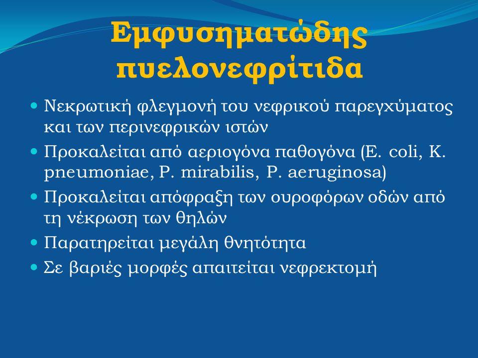 Εμφυσηματώδης πυελονεφρίτιδα Νεκρωτική φλεγμονή του νεφρικού παρεγχύματος και των περινεφρικών ιστών Προκαλείται από αεριογόνα παθογόνα (E. coli, K. p