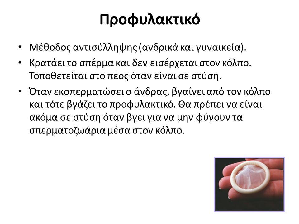 Προφυλακτικό Μέθοδος αντισύλληψης (ανδρικά και γυναικεία). Κρατάει το σπέρμα και δεν εισέρχεται στον κόλπο. Τοποθετείται στο πέος όταν είναι σε στύση.