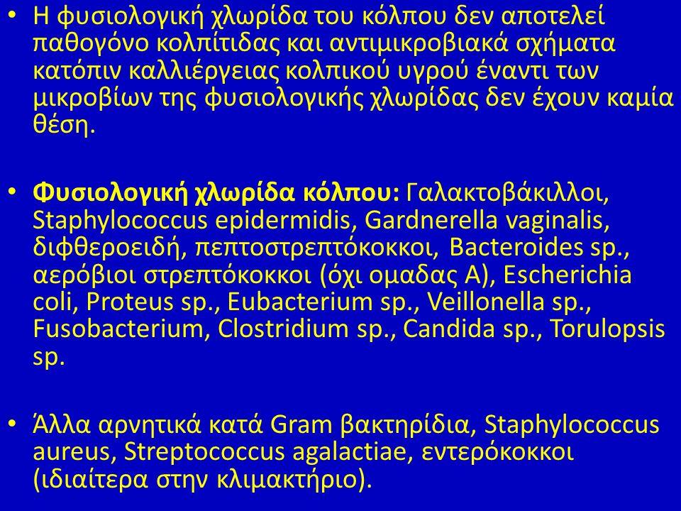 Η φυσιολογική χλωρίδα του κόλπου δεν αποτελεί παθογόνο κολπίτιδας και αντιμικροβιακά σχήματα κατόπιν καλλιέργειας κολπικού υγρού έναντι των μικροβίων της φυσιολογικής χλωρίδας δεν έχουν καμία θέση.