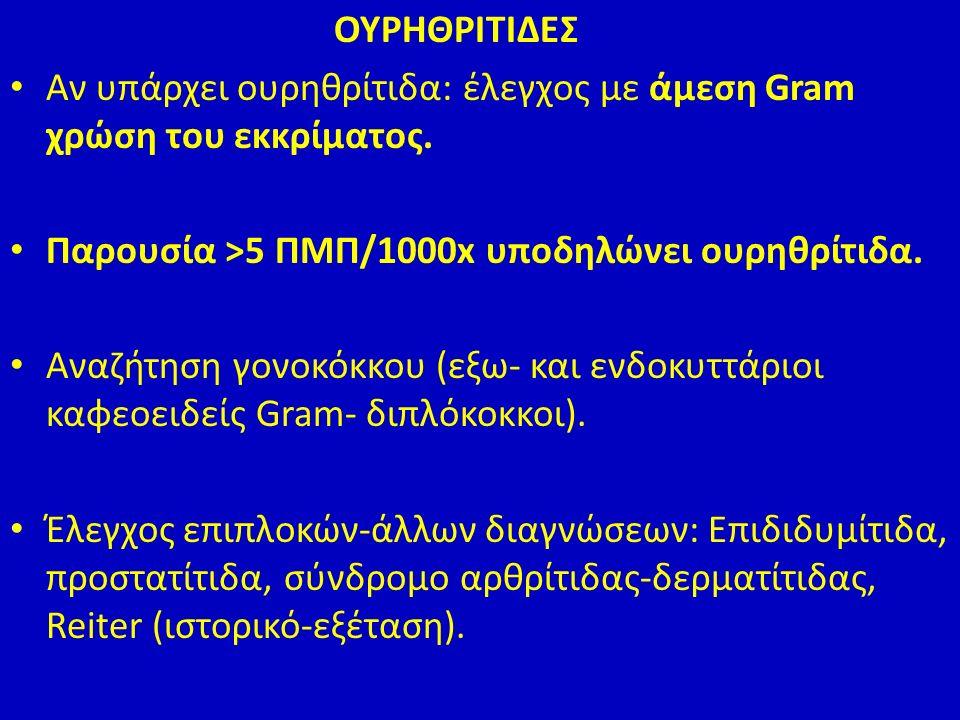 ΟΥΡΗΘΡΙΤΙΔΕΣ Αν υπάρχει ουρηθρίτιδα: έλεγχος με άμεση Gram χρώση του εκκρίματος.