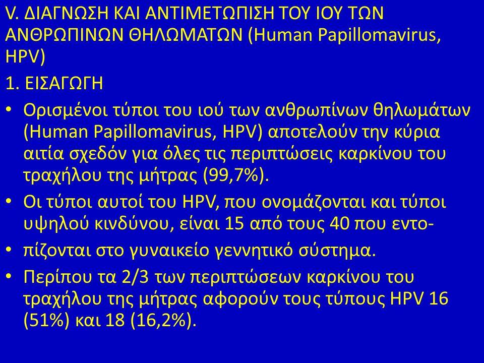V. ΔΙΑΓΝΩΣΗ ΚΑΙ ΑΝΤΙΜΕΤΩΠΙΣΗ ΤΟΥ ΙΟΥ ΤΩΝ ΑΝΘΡΩΠΙΝΩΝ ΘΗΛΩΜΑΤΩΝ (Human Papillomavirus, HPV) 1.