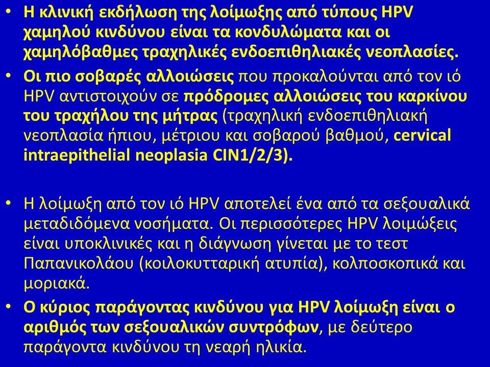 Η κλινική εκδήλωση της λοίμωξης από τύπους HPV χαμηλού κινδύνου είναι τα κονδυλώματα και οι χαμηλόβαθμες τραχηλικές ενδοεπιθηλιακές νεοπλασίες.