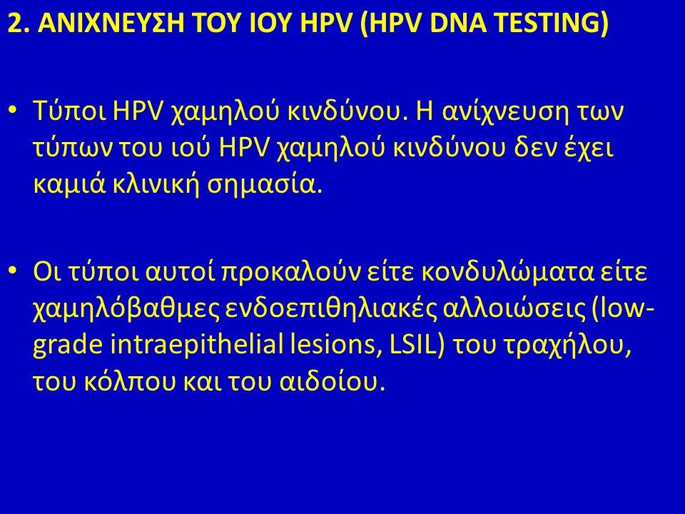 2. ΑΝΙΧΝΕΥΣΗ ΤΟΥ ΙΟΥ HPV (HPV DNA TESTING) Τύποι HPV χαμηλού κινδύνου.