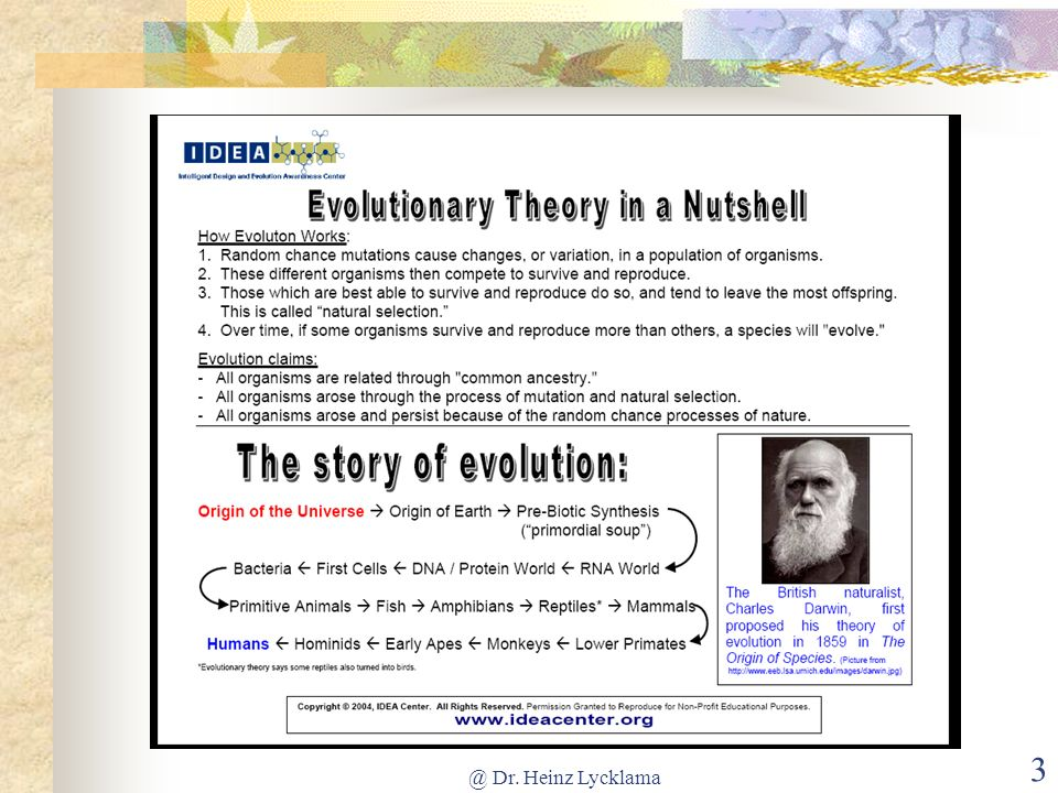 @ Dr.Heinz Lycklama 44 5. Η Εξέλιξη είναι απλώς θεωρία.