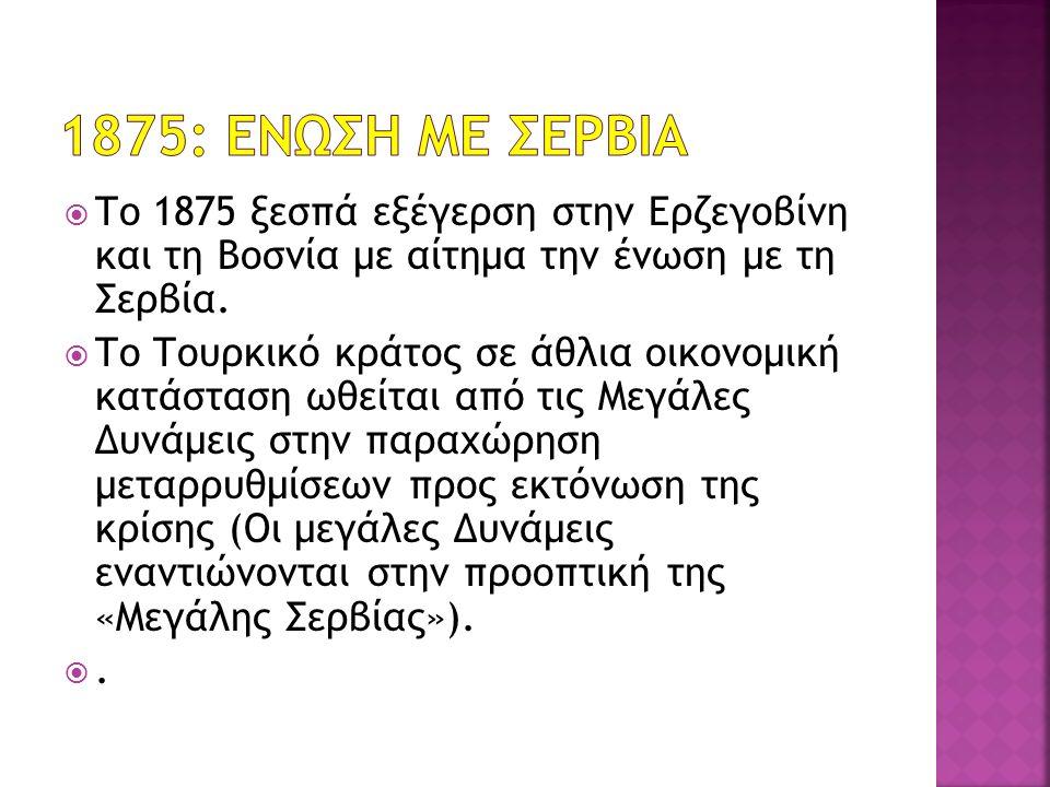  Το 1875 ξεσπά εξέγερση στην Ερζεγοβίνη και τη Βοσνία με αίτημα την ένωση με τη Σερβία.