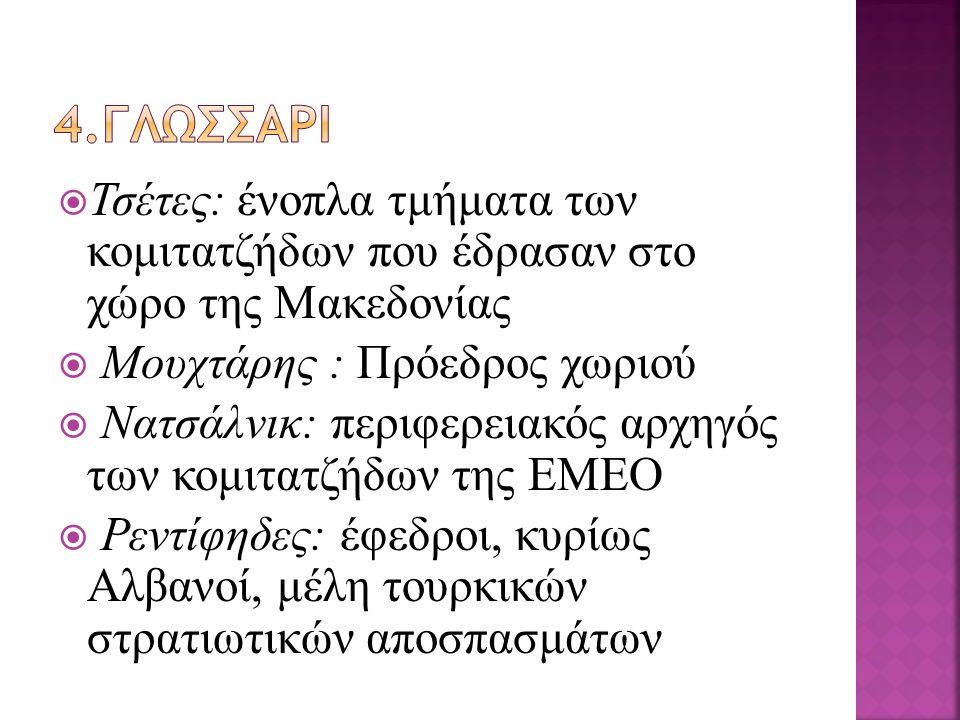  Τσέτες: ένοπλα τμήματα των κομιτατζήδων που έδρασαν στο χώρο της Μακεδονίας  Μουχτάρης : Πρόεδρος χωριού  Νατσάλνικ: περιφερειακός αρχηγός των κομιτατζήδων της ΕΜΕΟ  Ρεντίφηδες: έφεδροι, κυρίως Αλβανοί, μέλη τουρκικών στρατιωτικών αποσπασμάτων