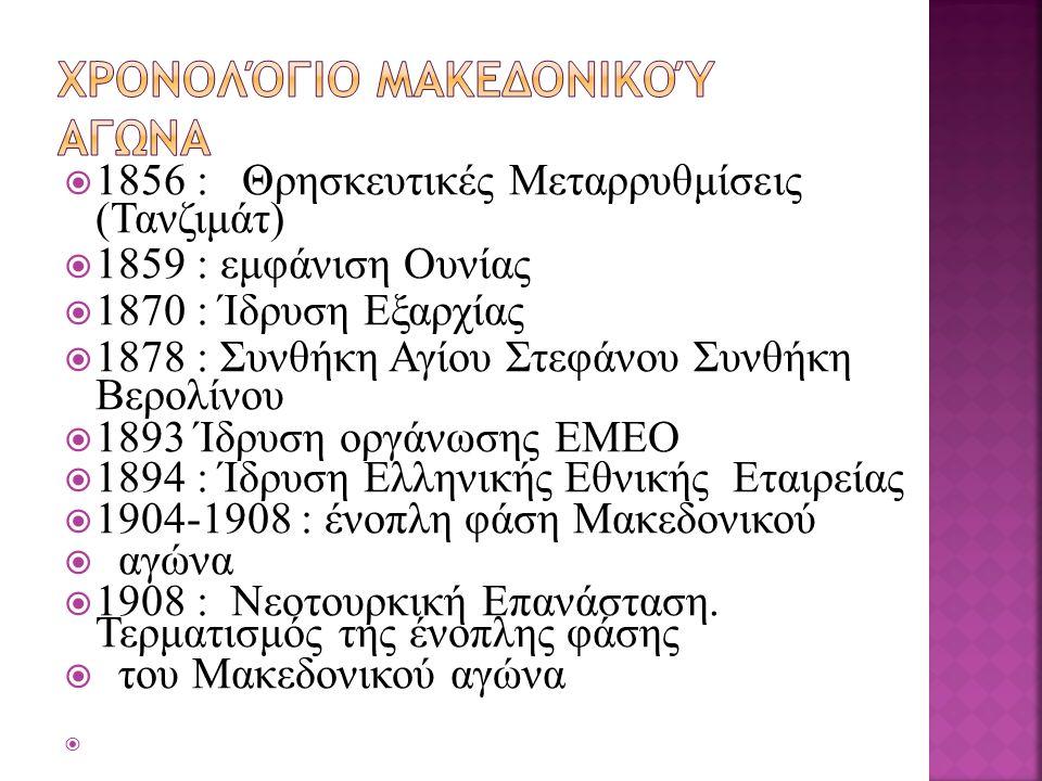  1856 : Θρησκευτικές Μεταρρυθμίσεις (Τανζιμάτ)  1859 : εμφάνιση Ουνίας  1870 : Ίδρυση Εξαρχίας  1878 : Συνθήκη Αγίου Στεφάνου Συνθήκη Βερολίνου  1893 Ίδρυση οργάνωσης ΕΜΕΟ  1894 : Ίδρυση Ελληνικής Εθνικής Εταιρείας  1904-1908 : ένοπλη φάση Μακεδονικού  αγώνα  1908 : Νεοτουρκική Επανάσταση.