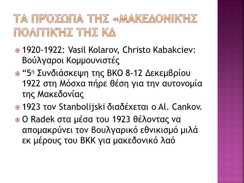  1920-1922: Vasil Kolarov, Christo Kabakciev: Βούλγαροι Κομμουνιστές  5 η Συνδιάσκεψη της ΒΚΟ 8-12 Δεκεμβρίου 1922 στη Μόσχα πήρε θέση για την αυτονομία της Μακεδονίας  1923 τον Stanbolijski διαδέχεται ο Al.