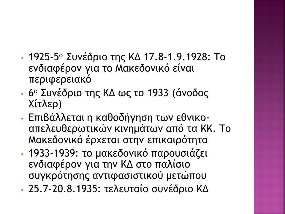 1925-5 ο Συνέδριο της ΚΔ 17.8-1.9.1928: Το ενδιαφέρον για το Μακεδονικό είναι περιφερειακό 6 ο Συνέδριο της ΚΔ ως το 1933 (άνοδος Χίτλερ) Επιβάλλεται
