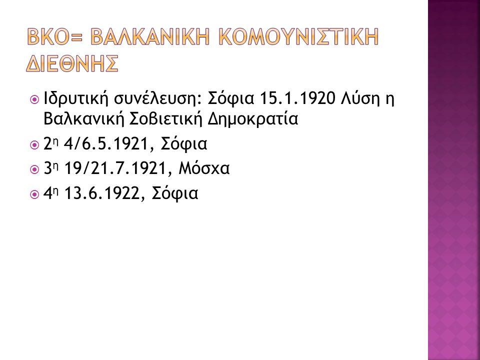 Ιδρυτική συνέλευση: Σόφια 15.1.1920 Λύση η Βαλκανική Σοβιετική Δημοκρατία  2 η 4/6.5.1921, Σόφια  3 η 19/21.7.1921, Μόσχα  4 η 13.6.1922, Σόφια