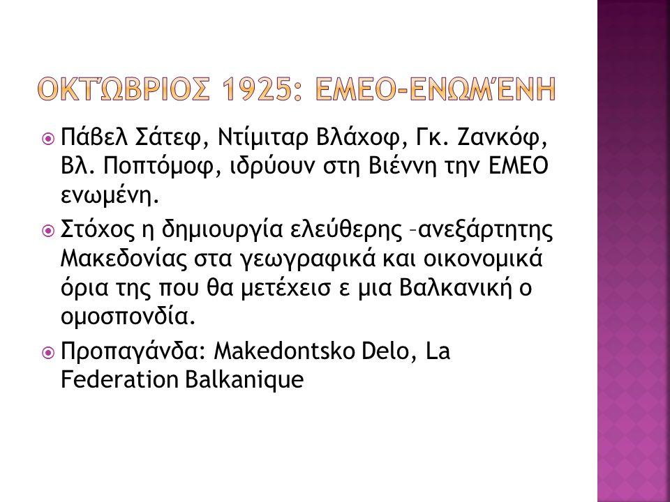  Πάβελ Σάτεφ, Ντίμιταρ Βλάχοφ, Γκ. Ζανκόφ, Βλ. Ποπτόμοφ, ιδρύουν στη Βιέννη την ΕΜΕΟ ενωμένη.
