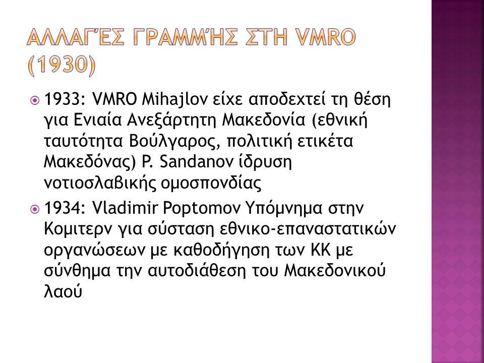  1933: VMRO Mihajlov είχε αποδεχτεί τη θέση για Ενιαία Ανεξάρτητη Μακεδονία (εθνική ταυτότητα Βούλγαρος, πολιτική ετικέτα Μακεδόνας) P. Sandanov ίδρυ