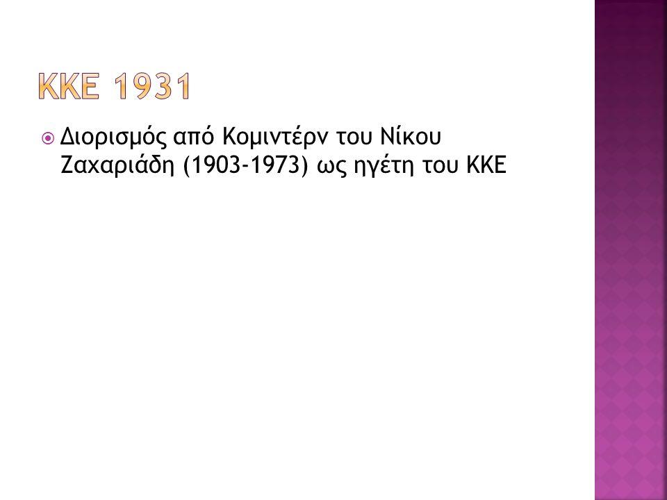  Διορισμός από Κομιντέρν του Νίκου Ζαχαριάδη (1903-1973) ως ηγέτη του ΚΚΕ