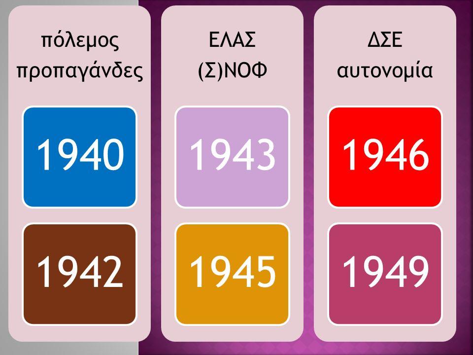 πόλεμος προπαγάνδες 19401942 ΕΛΑΣ (Σ)ΝΟΦ 19431945 ΔΣΕ αυτονομία 19461949