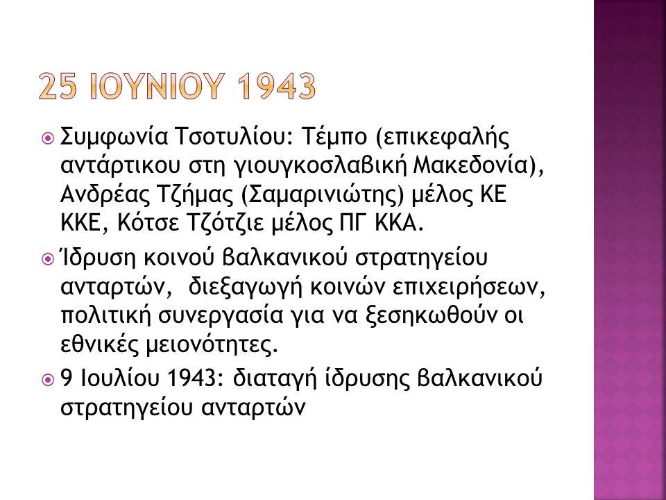  Συμφωνία Τσοτυλίου: Τέμπο (επικεφαλής αντάρτικου στη γιουγκοσλαβική Μακεδονία), Ανδρέας Τζήμας (Σαμαρινιώτης) μέλος ΚΕ ΚΚΕ, Κότσε Τζότζιε μέλος ΠΓ Κ