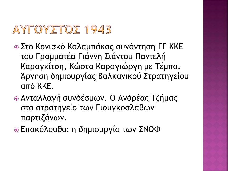  Στο Κονισκό Καλαμπάκας συνάντηση ΓΓ ΚΚΕ του Γραμματέα Γιάννη Σιάντου Παντελή Καραγκίτση, Κώστα Καραγιώργη με Τέμπο. Άρνηση δημιουργίας Βαλκανικού Στ
