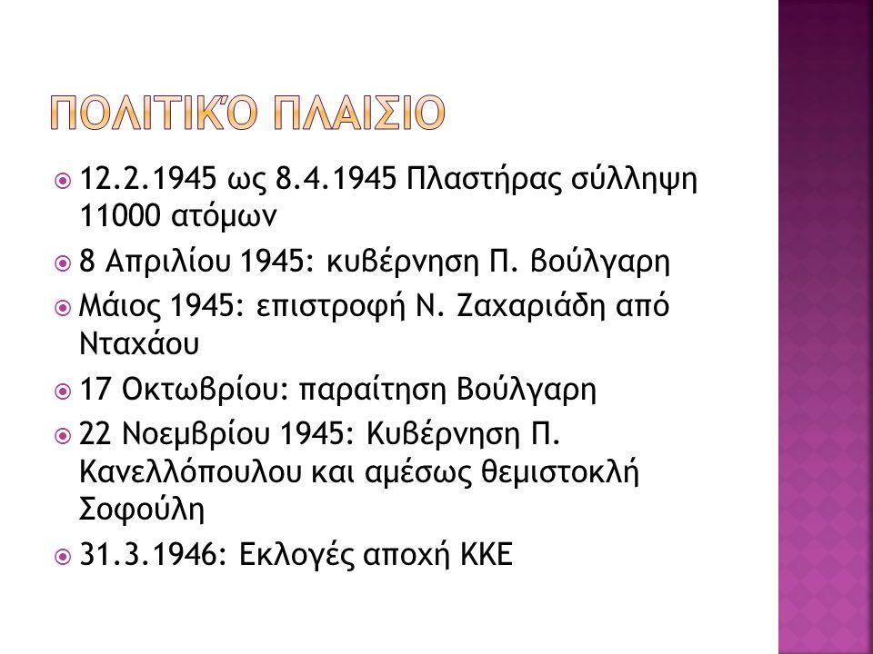  12.2.1945 ως 8.4.1945 Πλαστήρας σύλληψη 11000 ατόμων  8 Απριλίου 1945: κυβέρνηση Π. βούλγαρη  Μάιος 1945: επιστροφή Ν. Ζαχαριάδη από Νταχάου  17