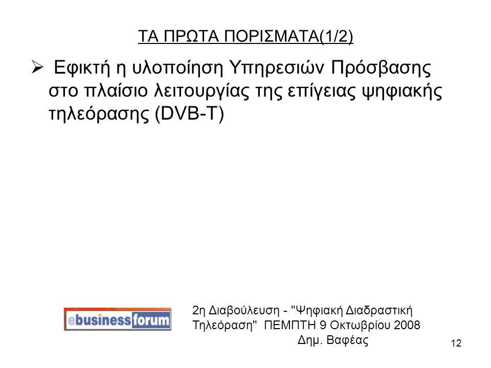 12 ΤΑ ΠΡΩΤΑ ΠΟΡΙΣΜΑΤΑ(1/2)  Εφικτή η υλοποίηση Υπηρεσιών Πρόσβασης στο πλαίσιο λειτουργίας της επίγειας ψηφιακής τηλεόρασης (DVB-T) 2η Διαβούλευση - Ψηφιακή Διαδραστική Τηλεόραση ΠΕΜΠΤΗ 9 Οκτωβρίου 2008 Δημ.