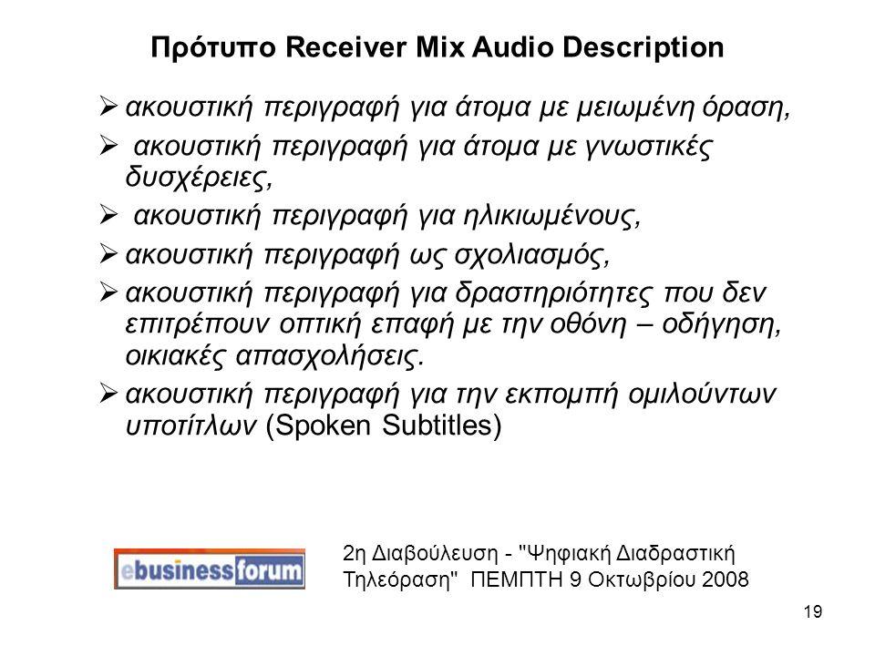 19 Πρότυπο Receiver Mix Audio Description  ακουστική περιγραφή για άτομα με μειωμένη όραση,  ακουστική περιγραφή για άτομα με γνωστικές δυσχέρειες,  ακουστική περιγραφή για ηλικιωμένους,  ακουστική περιγραφή ως σχολιασμός,  ακουστική περιγραφή για δραστηριότητες που δεν επιτρέπουν οπτική επαφή με την οθόνη – οδήγηση, οικιακές απασχολήσεις.