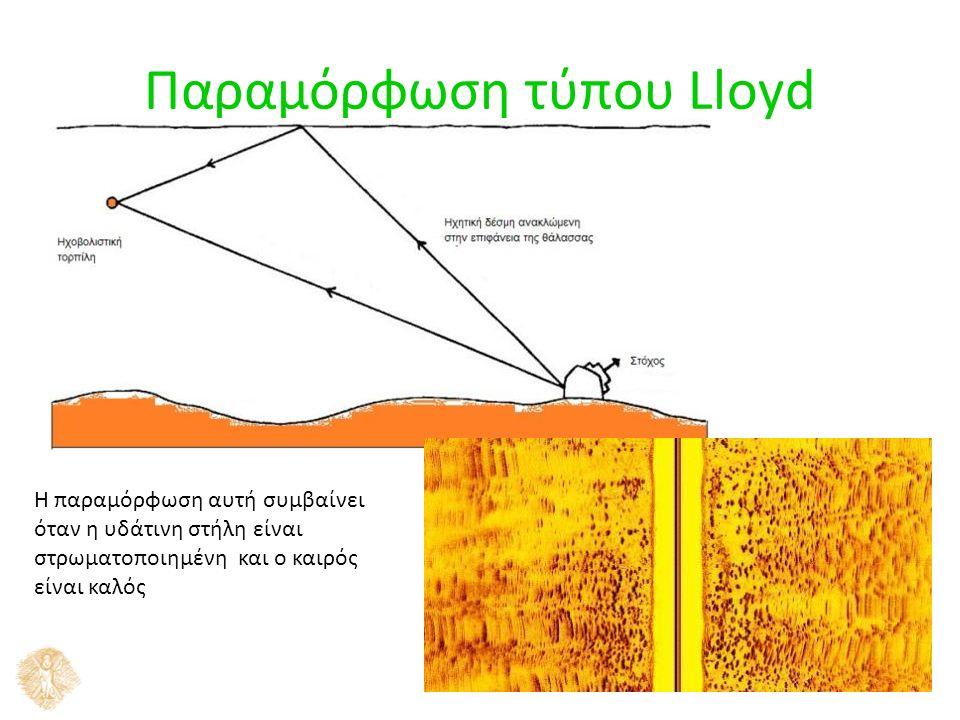 13 Παραμόρφωση τύπου Lloyd Η παραμόρφωση αυτή συμβαίνει όταν η υδάτινη στήλη είναι στρωματοποιημένη και ο καιρός είναι καλός