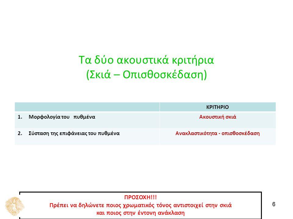 6 Τα δύο ακουστικά κριτήρια (Σκιά – Οπισθοσκέδαση) ΚΡΙΤΗΡΙΟ 1.Μορφολογία του πυθμέναΑκουστική σκιά 2.Σύσταση της επιφάνειας του πυθμέναΑνακλαστικότητα - οπισθοσκέδαση ΠΡΟΣΟΧΗ!!.