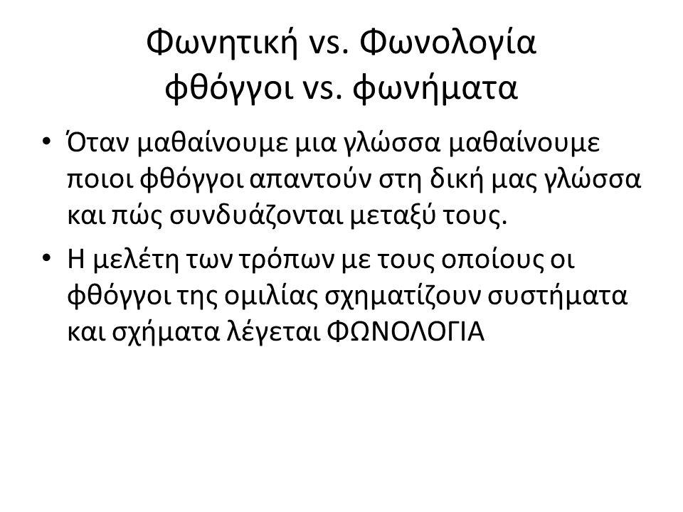 Φωνητική vs. Φωνολογία φθόγγοι vs.
