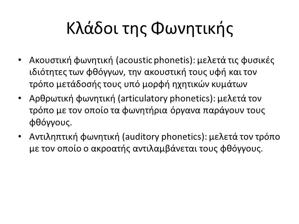 Κλάδοι της Φωνητικής Ακουστική φωνητική (acoustic phonetis): μελετά τις φυσικές ιδιότητες των φθόγγων, την ακουστική τους υφή και τον τρόπο μετάδοσής τους υπό μορφή ηχητικών κυμάτων Αρθρωτική φωνητική (articulatory phonetics): μελετά τον τρόπο με τον οποίο τα φωνητήρια όργανα παράγουν τους φθόγγους.