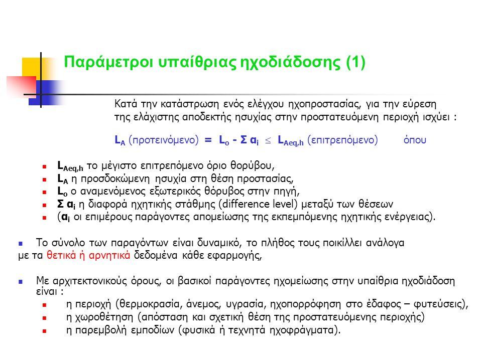 Παράμετροι υπαίθριας ηχοδιάδοσης (1) Κατά την κατάστρωση ενός ελέγχου ηχοπροστασίας, για την εύρεση της ελάχιστης αποδεκτής ησυχίας στην προστατευόμενη περιοχή ισχύει : L Α (προτεινόμενο) = L ο - Σ α i  L Aeq,h (επιτρεπόμενο) όπου L Aeq,h το μέγιστο επιτρεπόμενο όριο θορύβου, L Α η προσδοκώμενη ησυχία στη θέση προστασίας, L ο ο αναμενόμενος εξωτερικός θόρυβος στην πηγή, Σ α i η διαφορά ηχητικής στάθμης (difference level) μεταξύ των θέσεων (α i οι επιμέρους παράγοντες απομείωσης της εκπεμπόμενης ηχητικής ενέργειας).